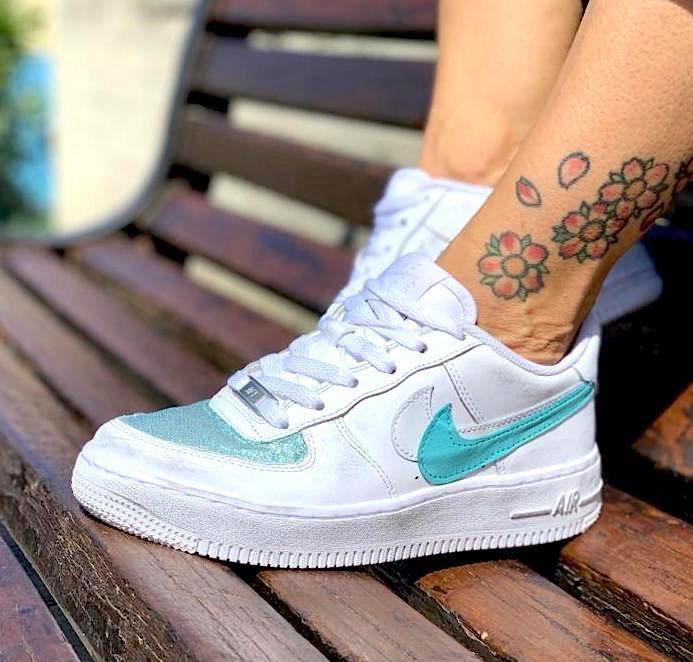 Nike Air Force One Custom Glitter Azzuro & Doppio Baffo Pelle ...