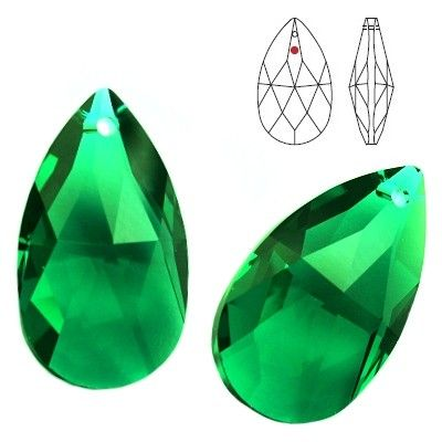 STRASS Swarovski 8721 Pear Shape 38mm Emerald  Dimensions: 38,0 mm Colour: Emerald 1 package = 1 piece