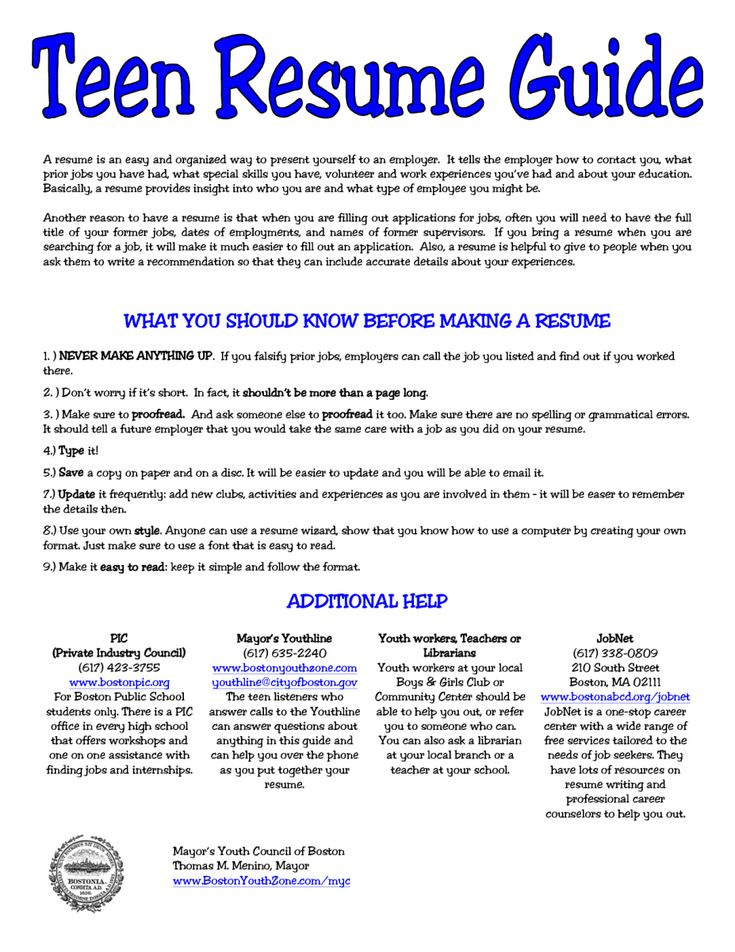 5 Resume for Teens Sample Sample Resumes Sample