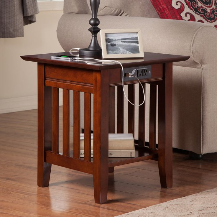 Atlantic Furniture Houlton End Table with Charging Station - AH14214