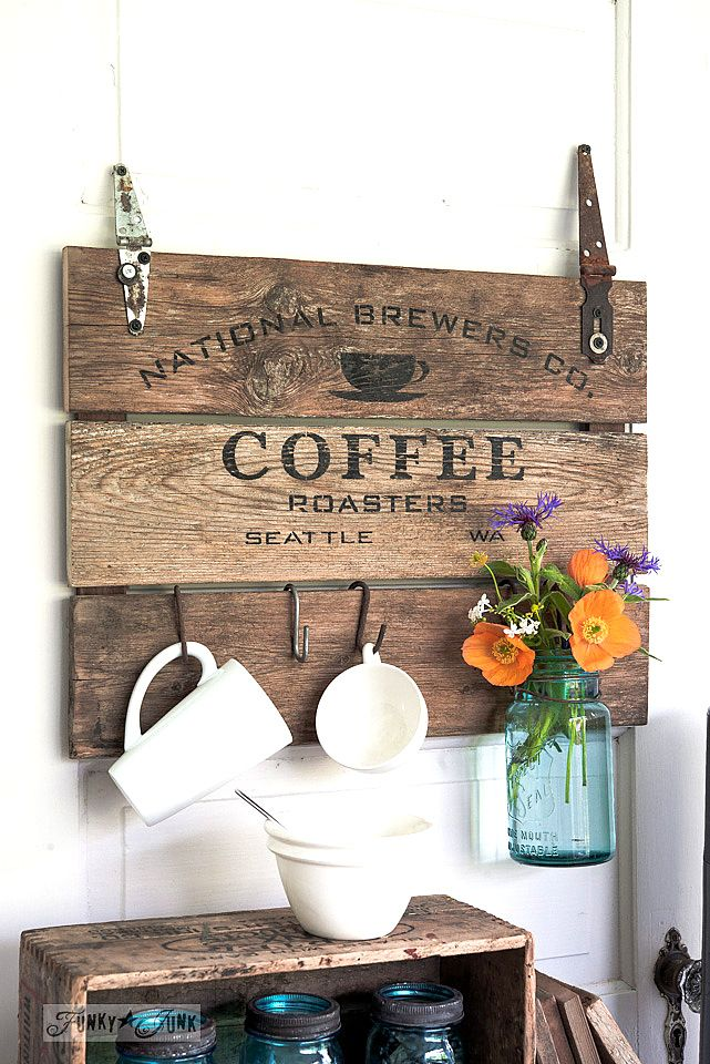 old coffee sign into a beverage station using Funky Junk's Old Sign Stencils / funkyjunkinteriors.net