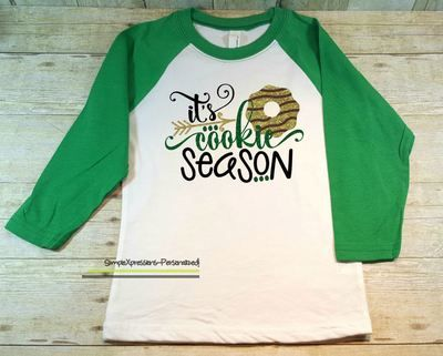 It's Cookie Season- Girl Scout Raglan Shirt-GLITTER