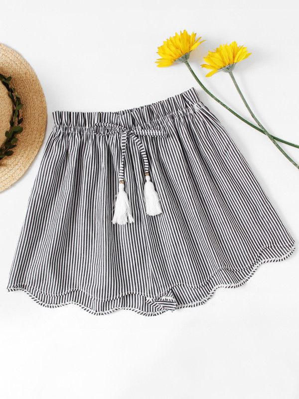 Shop Striped Drawstring Waist Wave Edge Shorts online. SheIn offers Striped Drawstring Waist Wave Edge Shorts & more to fit your fashionable needs.