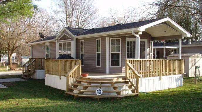 24 single wide manufactured home Corner deck stairs
