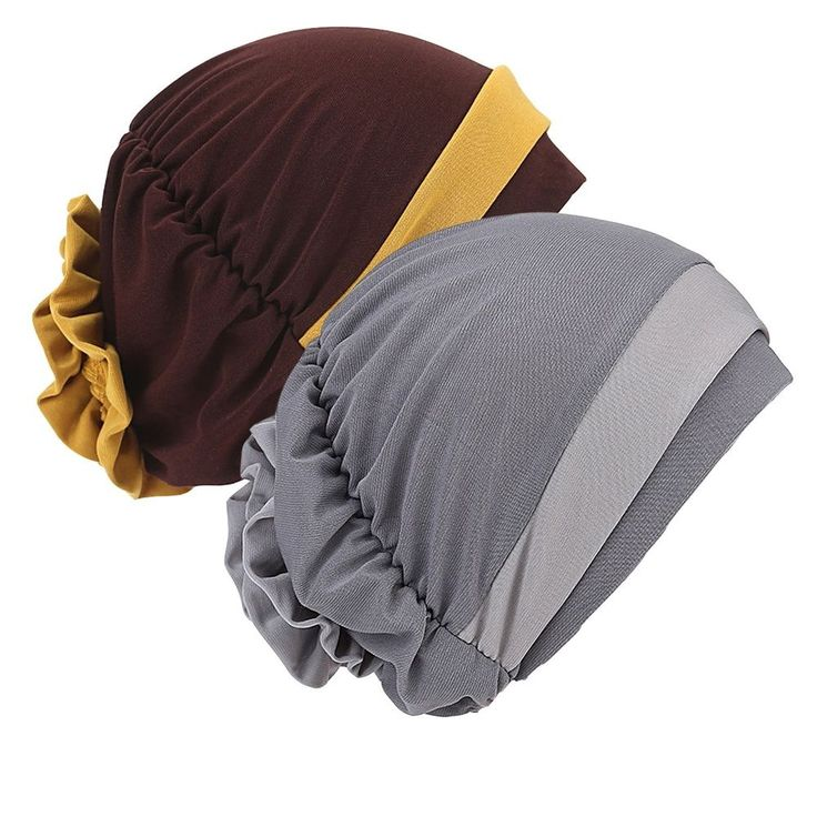 2 Pack Womens Coffee/Gray Chemo Hat Beanie Turban Headwear for Cancer Patients #Senker #womens