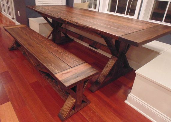 Kent Dining Table  Trestle X  Farmhouse  Reclaimed Wood  Custom   Handcrafted  Handmade  Made in USA  Solid Wood  Kitchen Table27 best Dining room images on Pinterest   Dining room  Dining room  . Farmhouse Dining Table Made In Usa. Home Design Ideas