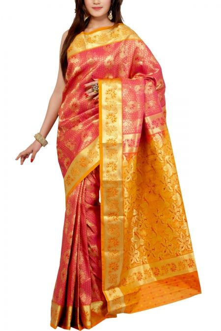 Fuchsia Golden Brocade Art Silk Saree