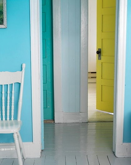 Colored interior doors.  I wouldn't use these colors (I'm way to chicken for that) but I love the idea.