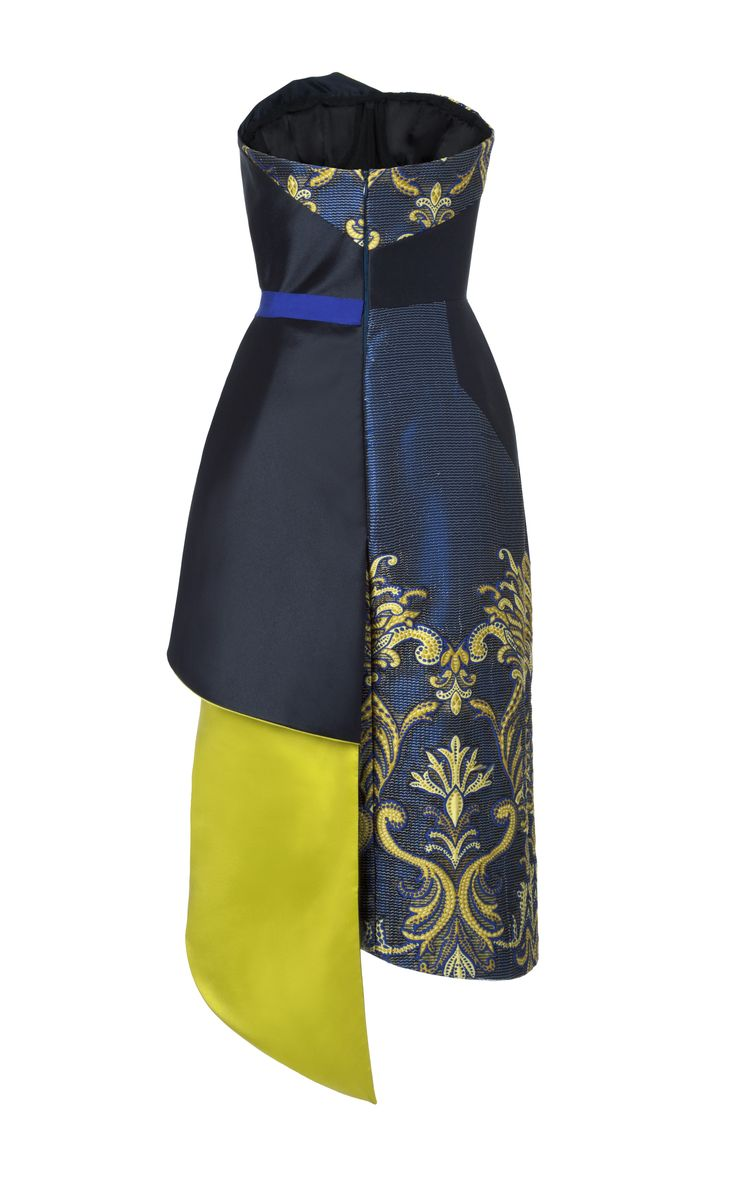 Strapless Organza Brocade Draped Cocktail Dress In Cobalt by Bibhu Mohapatra for Preorder on Moda Operandi