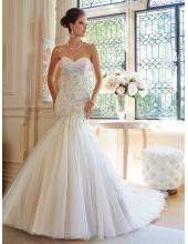Robes de mariée 2015 tulle sirène sans manches traîne chapelle lacets