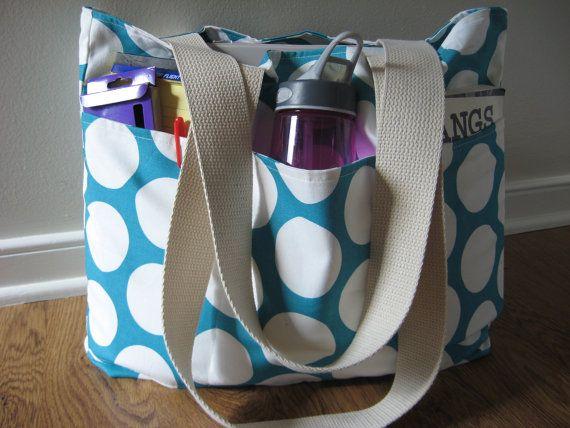 Large Teacher Tote  REVERSIBLE  Polka Dot Bag  by OohBabyInfinity