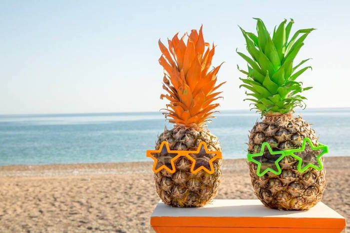 Styled Pineapples from a Tropical Surfing Birthday Party via Kara's Party Ideas | KarasPartyIdeas.com | The Place for All Things PARTY! (20)