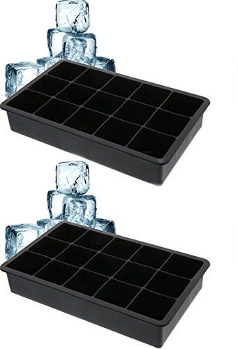 Cherion Silicone Ice Cube Trays -2 Piece Premium Food Grade Silicone Ice Tray Molds, Makes Amazing 1.3'' Inches Ice Cubes- (Set of 2)- Black -- Check this awesome product by going to the link at the image.