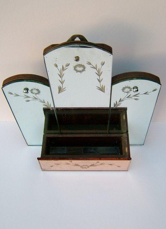 anni 1920 Art Deco specchio rosa vetro specchio di BiminiCricket