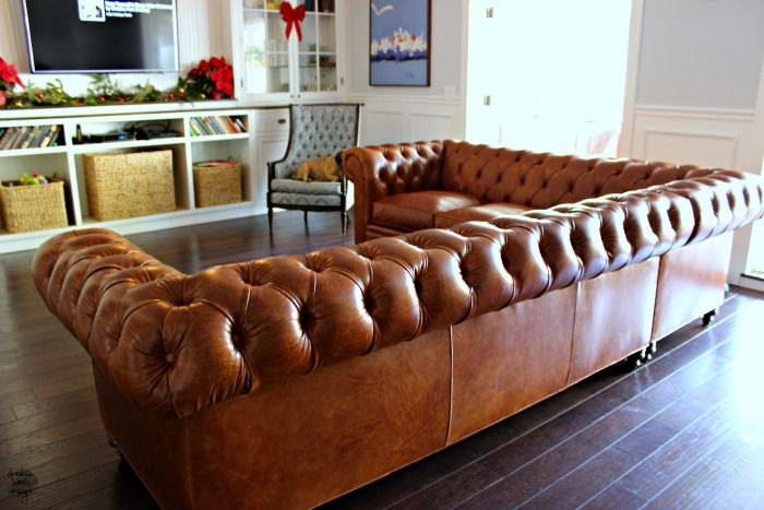 A leather chesterfield sectional sofa! A great option to buy a sofa and be able to customize it completely.