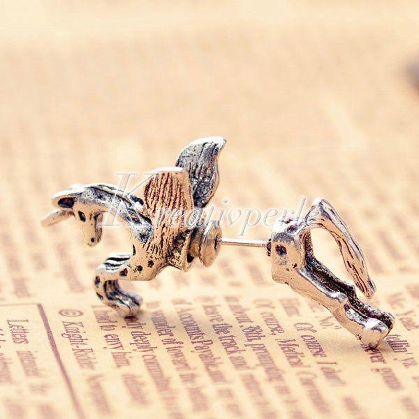Antik Restro Einhorn Pferd Damen Ohrring Ohrstecker Ear cuff Ohrschmuck FJ0276 | eBay