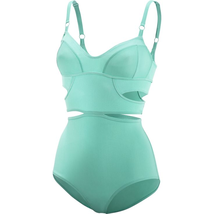 Beautiful mint green swimsuit with a vintage feel // adidas Cover Up Swimsuit | Stella McCartney for adidas