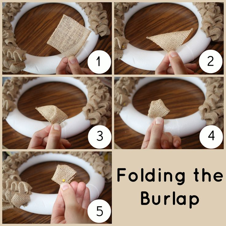 ribbon wreath instructions using wire wreath | Fold the top corner down to the bottom corner to make a triangle.