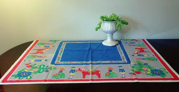 Vintage Swedish Folk Tablecloth by MelbaMoon on Etsy