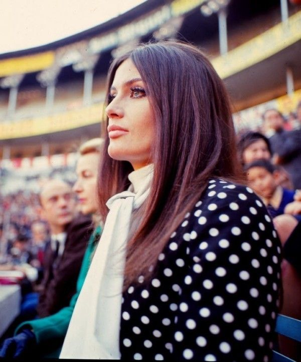 """Actress Marisa Mell attending a bullfight in Barcelona in 1969. She filmed a couple of movies in Galicia.one of them,"""" Diary of a Murderess"""" and... she was one of the most beautiful woman in the 70's movie scene!"""