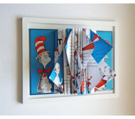 Seuss book sculpture childrens room decor wall art nursery decor what better gift to give to a child then the classic book cat in the hat