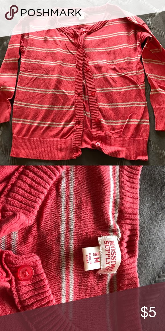 Striped coral cardigan Only worn a few times! Sweaters Cardigans