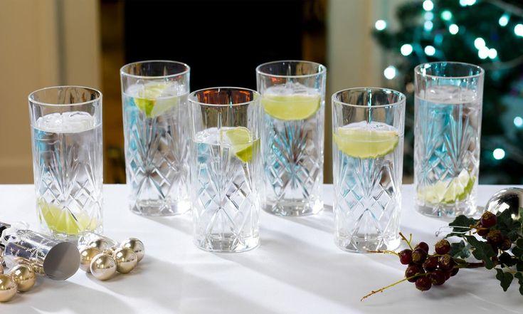 Groupon Goods Global GmbH: RCR Melodia Crystal Hi-Ball Cocktail Glasses (COMBO-1697) Whisky Tumblers (COMBO-1696) or Both (COMBO-1698)