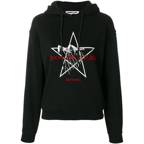McQ Alexander McQueen death metal hoodie (985 SAR) ❤ liked on Polyvore featuring tops, hoodies, black, metal hoodies, long sleeve tops, long sleeve hooded sweatshirt, hooded sweatshirt and abstract top