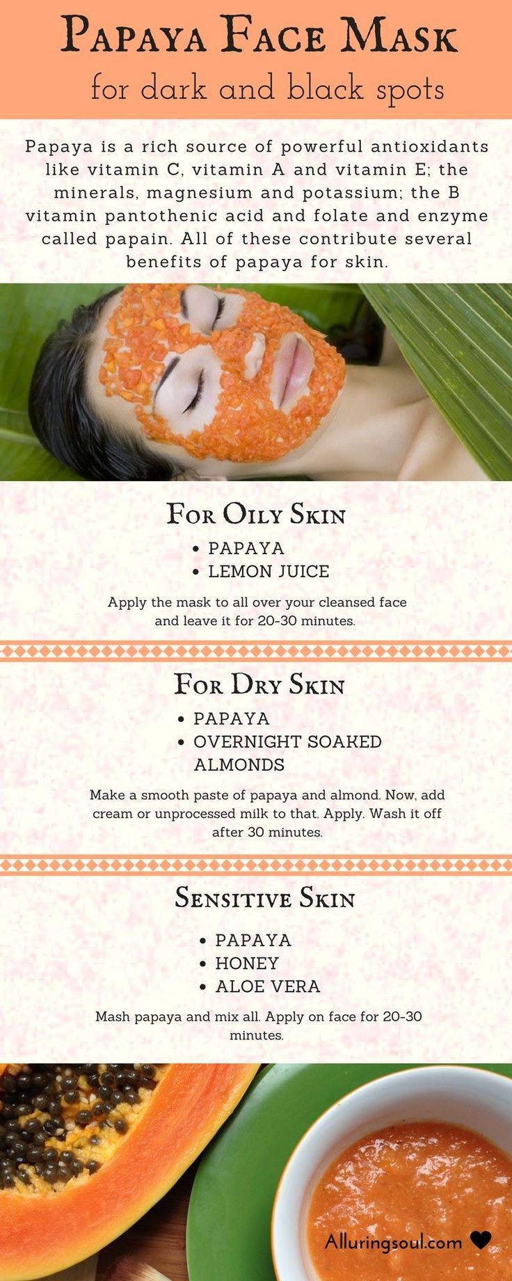 papaya skin Papaya is best known for brightening and whitening skin, because it is rich in papain, a powerful enzyme these recipes contain other natural ingredients to make effective papaya face masks.