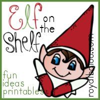 Elf on the Shelf Printable...  little cards to be printed out and placed near your Elf on the Shelf while he is caught creating some mischief. Included is a list of 32 relatively simple ideas, and a matching card with a rhyme to go along with the idea.