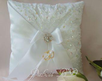 Almohada de anillo de boda portador, blanco, marfil o Champagne anillo portador almohada, almohada de anillo de abalorios, almohada de boda, bodas