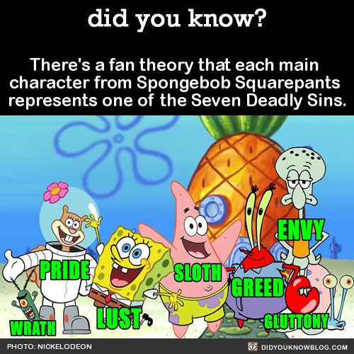 There's a fan theory that each main character from Spongebob Squarepants represents one of the Seven Deadly Sins. Source