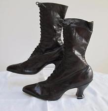 Antigua victoriana Antique Victorian Marrón Cuero Zapatos Botas al tobillo con Cordones Señoras-c1890