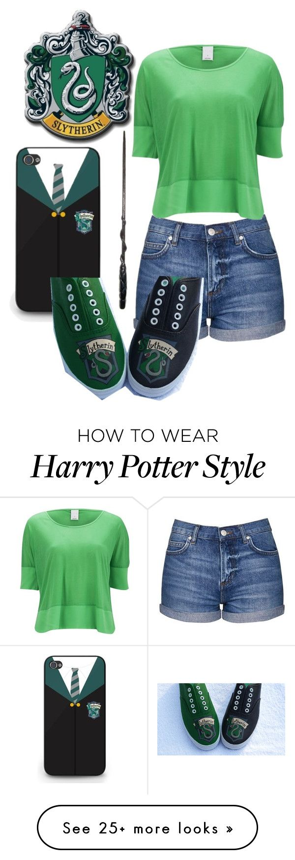"""Slytherin casual"" by slytherinprincess1904 on Polyvore featuring Topshop and Vero Moda"