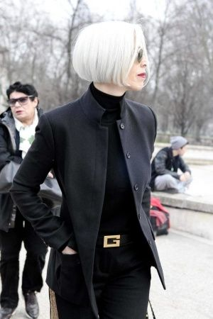Love it when women stick with their naturally grey/white hair. Beautiful + natural. Jacket Ric Owens.