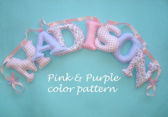 7 Pink and purple nursery name banner fabric by LittleFairyCottage