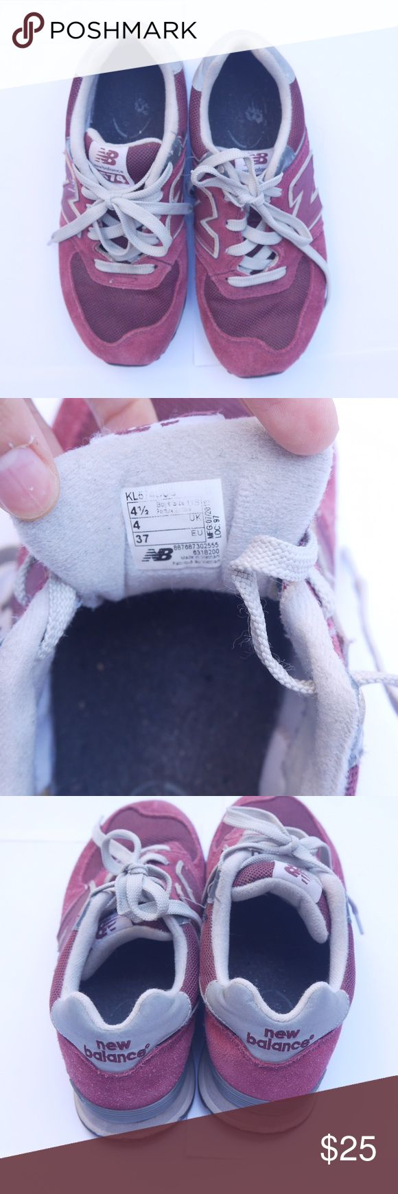 NEW BALANCE - 574 burgundy sneakers These have been worn multiple times but still have a lot of life left. I bought a kid size because they were cheaper but a 4.5 boy size is a 6.5 women size. They are very comfortable. New Balance Shoes Sneakers