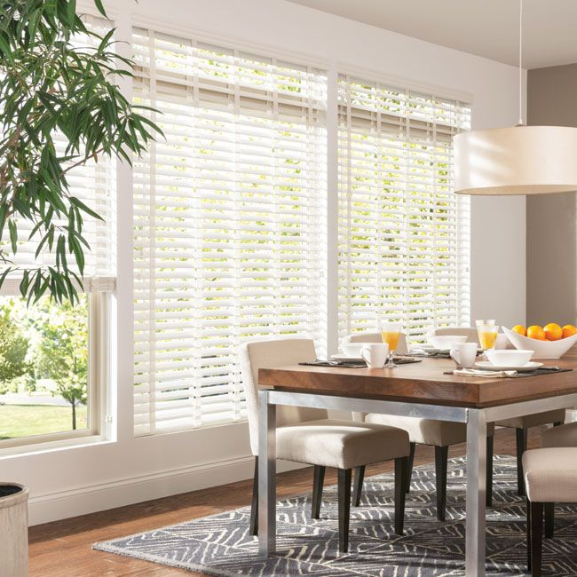 """Bali 2-1/2"""" Double Bevel Composite Blinds: 2 1/2"""" Double Bevel Composite blinds feature double beveled slats for the high-style look of shutters with less weight. Easy-to-clean blinds won't warp, crack, stain or peel, even in high-humidity areas or rooms with direct sunlight. Large slats provide a clearer view to the outside when open."""