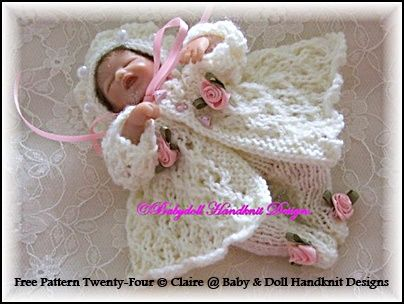 """FREE Pram Set for 4-7"""" doll/early loss baby-free knitting pattern"""