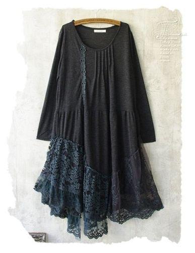Kleid-cosplay-Lagenlook-vintage-steampunk-Spitze-Mori-Girl-gothic-japan-kawaii