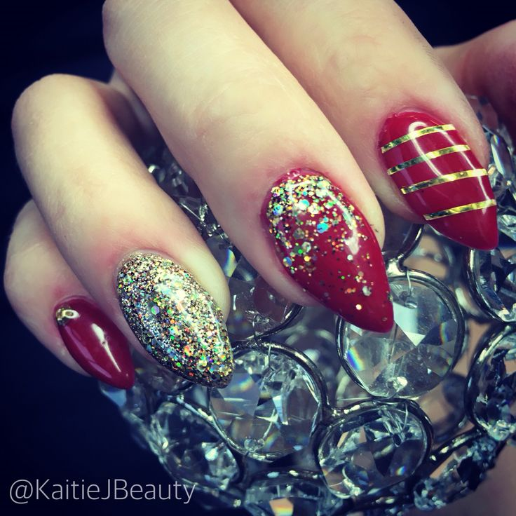 Nails By KaitieJ Beauty Christmas nails, stiletto nails, red and gold nails, gel nail art