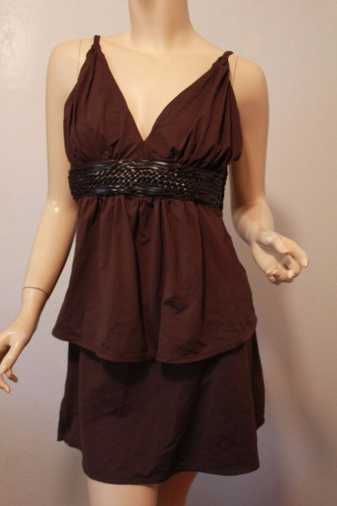 Roxanne Collection Brown Tankini Swimsuit Bathing Suit Skirted 14/38DD NWOT #Roxanne #Tankini