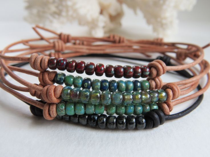 Leather Beaded Adjustable Anklet, Boho Stackable Bracelet, Casual Summertime Jewelry ~ by Hello Sweetie Handmade by HelloSweetieHandmade on Etsy https://www.etsy.com/listing/239657212/leather-beaded-adjustable-anklet-boho