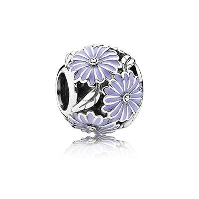 Lavender Daisy Meadow charm. The gorgeous lavender shade of the enamel and the floral design make this sterling silver charm a must-have item. #PANDORA #Spring2015