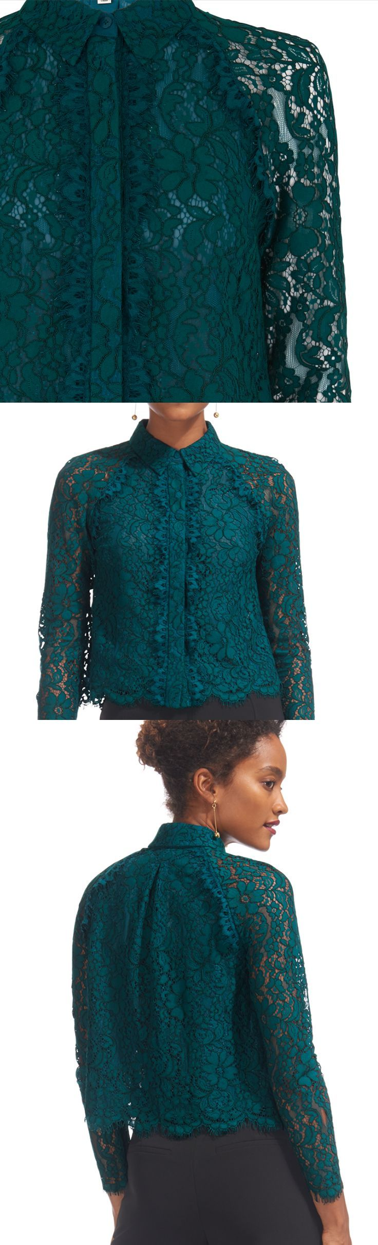 Whistles online store - Suzie Lace Shirt in deep teal. Great for friends winter weddings, race day fashion, worn with a tailored trouser on midi skirt and boots. Or a long line skirt and faux fur stole for a more vintage feel. Great winter colour for lot's of skins. Winter Fashion inspiration. outfit ideas. Wear this Teal Green with Purple - Brilliant Combo for a Christmas Wedding. #fashion #fashionista #affiliatelink #winter #winterfashion #wedding #weddingguest