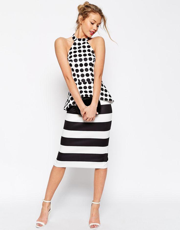 Image 1 ofASOS Halter Dress In Spot And Stripe Mix Dress