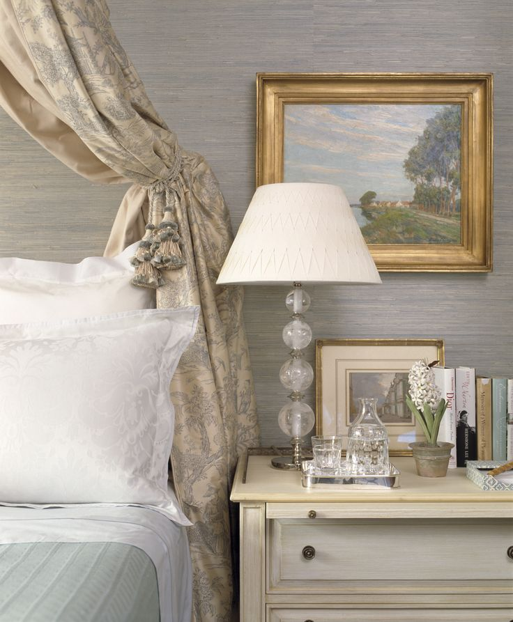 Gray Powder Room With Grey Grasscloth: Charlotte Moss Pulls Together Another Haven-like Bedroom