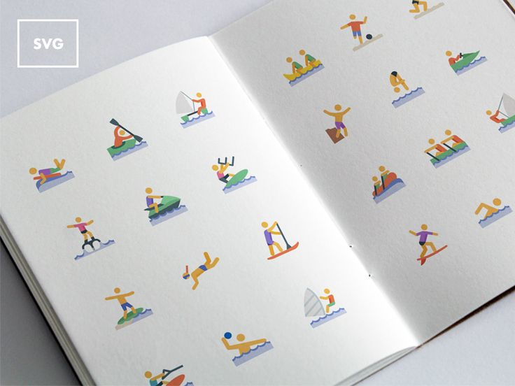 A set of 24 multi-colored icons with an aquatic sports theme. The icons come in SVG format and were designed with a soft, summer-like color scheme.