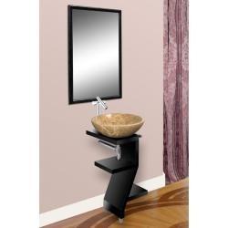 Interesting pedestal sink for a petite powder room@Overstock -