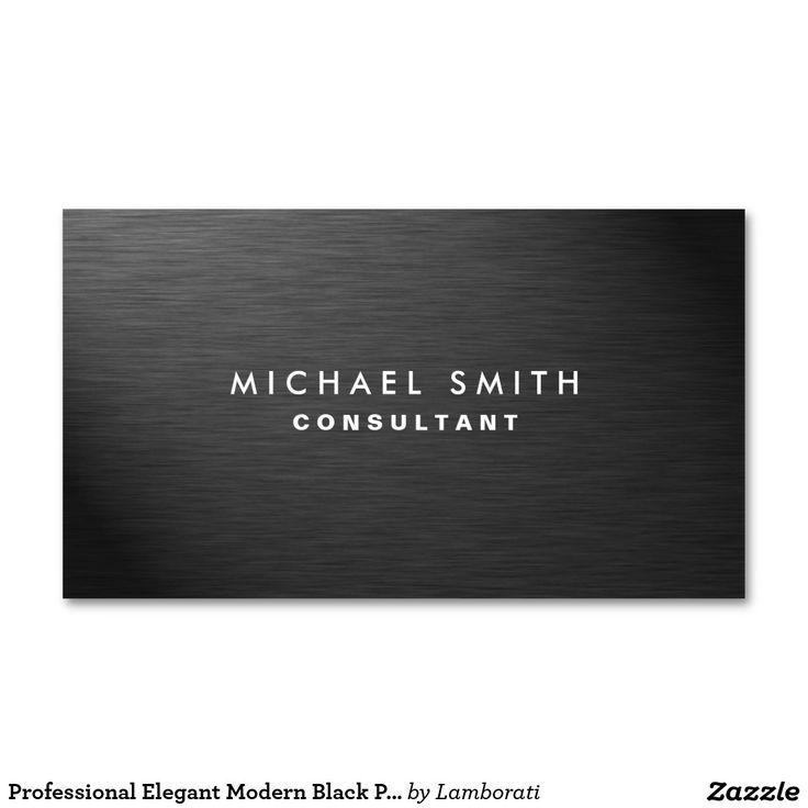 Professional Elegant Modern Black Plain Metal Double-Sided Standard Business Cards (Pack Of 100)
